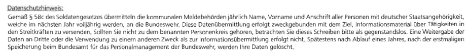 Im Einklang mit dem Gesetz: Die Bundeswehr erhält über die kommunalen Meldebehörden Name, Vorname und Anschrift von Minderjährigen.