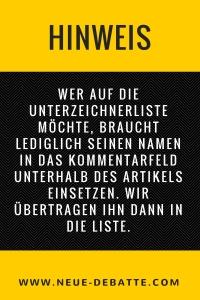 Hinweis für Unterzeichner Offener Brief an Bundeskanzlerin Angela Merkel.