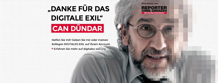 Can Dündar. Aktion Digitales Asyl. Facebook Titelbild. Reporter ohne Grenzen.