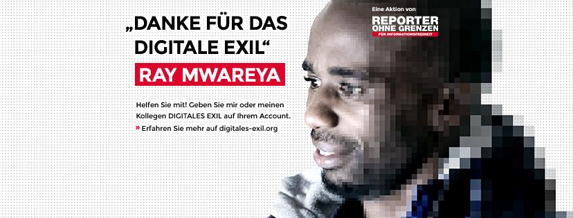 Ray Mwareya. Aktion Digitales Exil von von Reporter ohne Grenzen zum Tag der Menschenrechte.