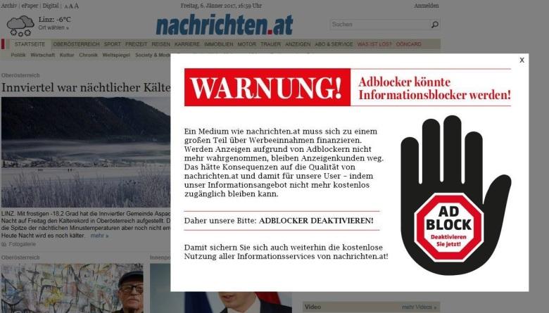 Online-Seiten reagieren mit dem sogenannten Anti-Ad-Block-Skript auf AdBlocker.