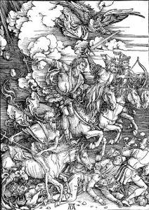 Albrecht Dürers Darstellung der apokalyptischen Reiter.