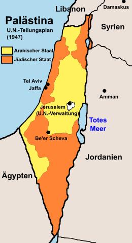 UN-Teilungsplan für Palästina 1947.
