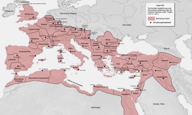 Die größte Ausdehnung erreicht das Römische Imperium im Jahr 116 unter Kaiser Trajan.