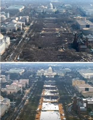 Die Fotos von der Angelobung Barack Obamas (oben) und Donald Trumps.