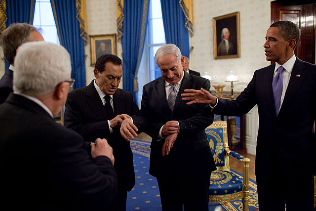 Hosni Mubarak, Benjamin Netanyahu und Us-Präsident Barack Obama im September 2010.