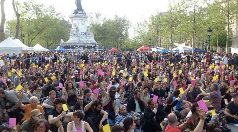 Abstimmung bei Nuit Debout in Frankreich.