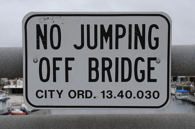 no jumping off the bridge PublicDomainPictures; pixabay.com; Creative Commons CC0
