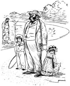 Die Parvenüs. Karikatur von J. Forain (gemeinfrei).