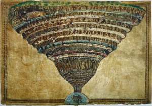 Mappa dell' Inferno - Der Höllentrichter von Sandro Botticelli entstand zwischen 1480 und 1490. (Foto: Gemeinfrei)