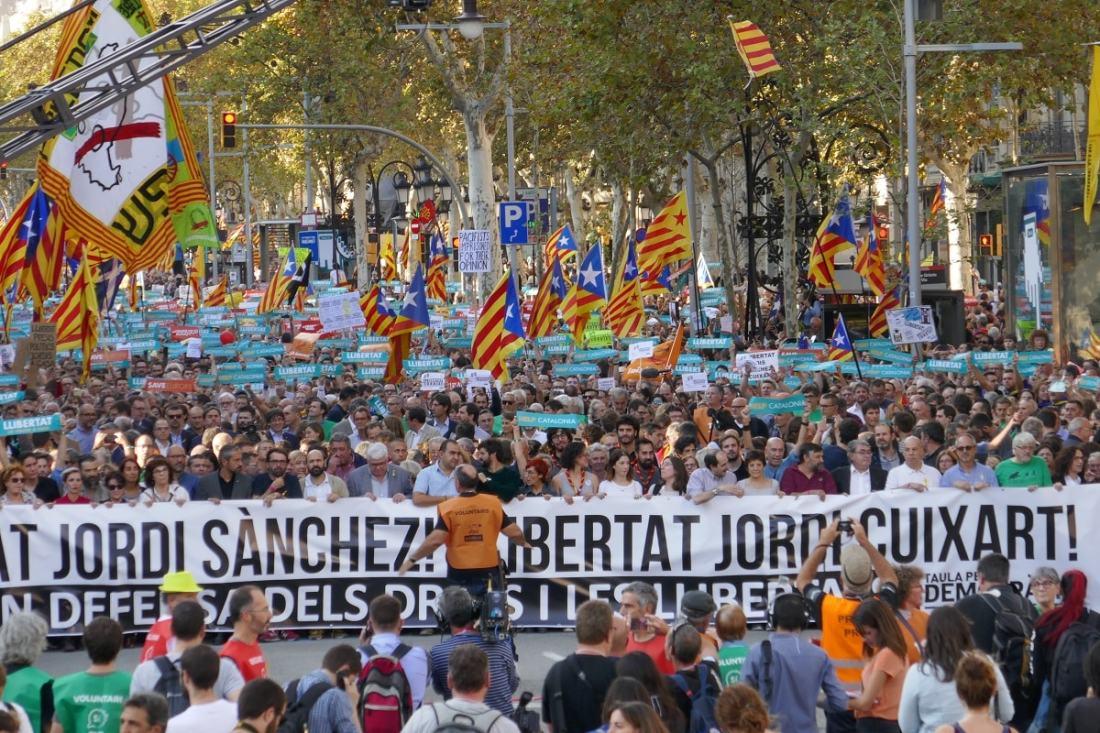 Demonstration in Katalonien am 21. Oktober 2017. (Foto: Krystyna Schreiber)