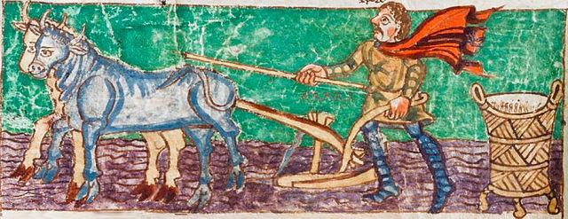 Pflügender Bauer. (Foto: Wikipedia; Carolingian manuscripts, Württembergische Landesbibliothek Stuttgart. Gemeinfrei)