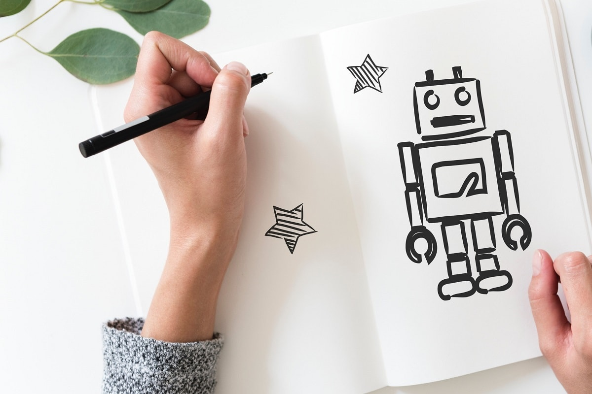 Roboter als Skizze. (Foto: Rawpixel, Unsplash.com)