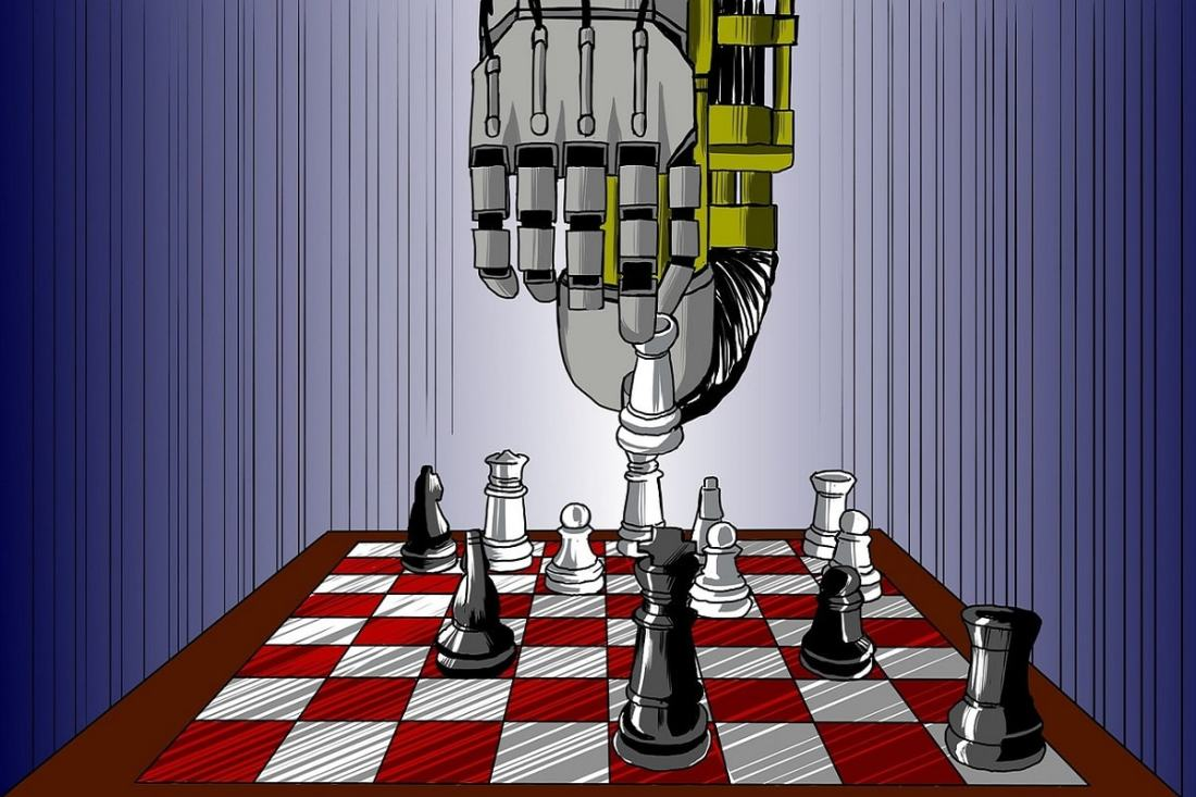 Robotik und künstliche Intelligenz am Schachbrett. (Illustration: woodpeace1, Pixabay.com; Creative Commons CC0)