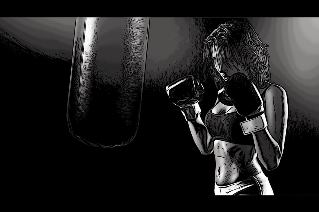 Boxerin als Comic. (Illustration: Yingnan Lu, Pixabay.com,Creative Commons CC0)