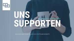 Neue Debatte unterstützen oder spenden. Banner