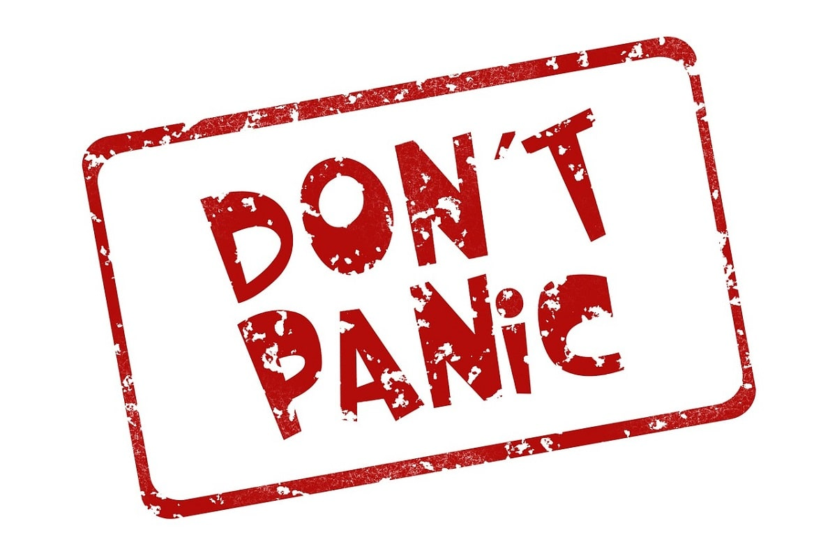 Stempel Don't panic. (Illustration: Geralt, Pixabay.com; Creative Commons CC0)